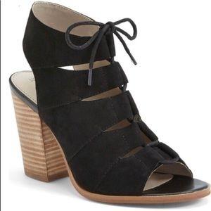 Hinge lace up block heel